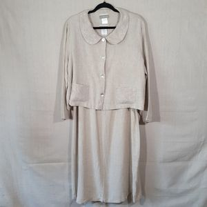 Coldwater Creek Linen Outfit, Dress w/Overcoat